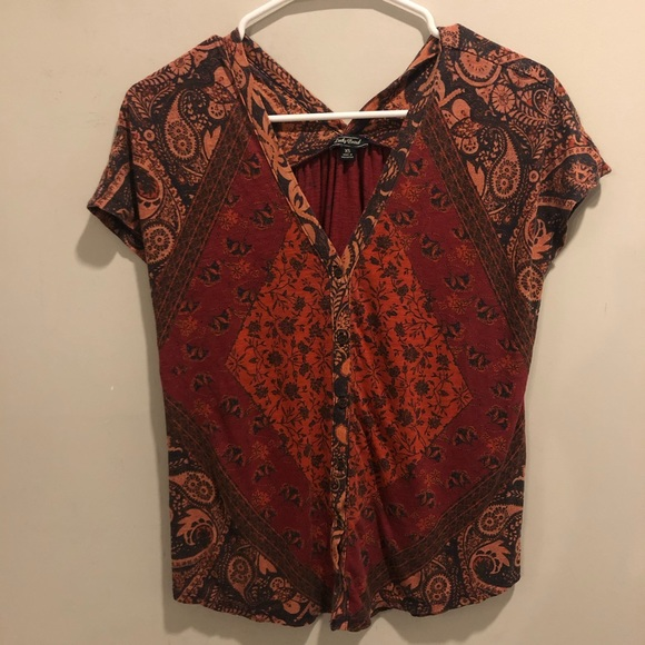 Lucky brand floral blouse top red